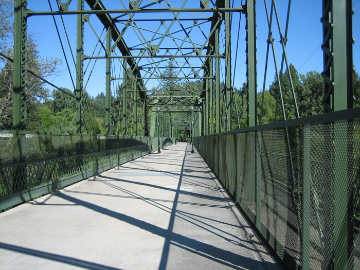 Walking across Guerneville Bridge.